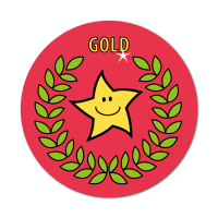 Gold Primary Sports Stickers (38mm)