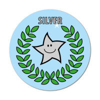Silver Primary Sports Stickers (38mm)