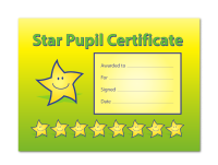 A5 Kudos Star Pupil Certificate, Pack Of 20