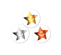 10mm Gold, Silver, Bronze Metallic Smiley Mini Star Sticker Mixed Pack