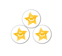 10mm Gold Sparkly Smiley Mini Star Stickers