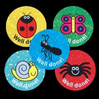 Sparkly `Well Done` Mini Beast Reward Stickers - 28mm