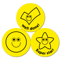 Budget Stickers - Yellow Smileys and Ticks (38mm)