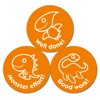 Budget Stickers - Orange Dinosaurs (38mm)