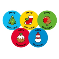 37mm Merry Christmas Stickers. 5 Designs Per Sheet. 70 Stickers
