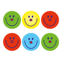 15mm Team Colour Smiley Stickers, Pack Of 440