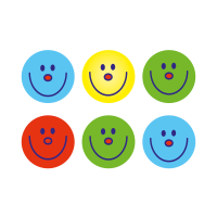 Team Colour Smiley Stickers (10mm)