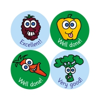A5 24mm Compilation Stickers - Fruit & Veg. Pack Of 140 Stickers