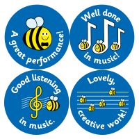 Music - 38mm Mixed Caption Curriculum Stickers. 5 Sheets - 75 Stickers.