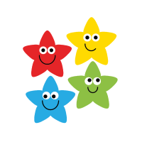 22mm Rainbow Star Stickers Value Pack.