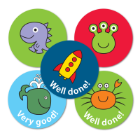 28mm Space, Dino and Sea Praise Stickers - Mixed Designs And Captions