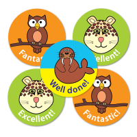 28mm Animal Praise Stickers - Mixed Designs And Captions