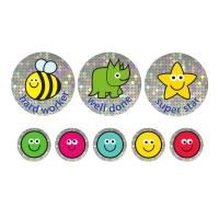 24/10mm A4 Sparkly Sticker Sheets. Mixed Captions. 10 Sheets, 1240 Stickers.