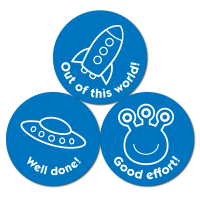 Budget Stickers - Blue Outer Space (38mm)