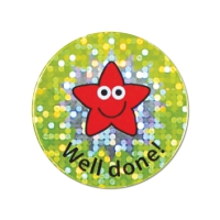 28mm Sparkly Well Done Star Stickers - Pack Of 54