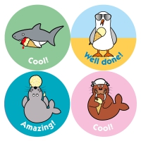 Vanilla Scented Seaside Stickers, 75 38mm mixed praise Scratch And Sniff Stickers