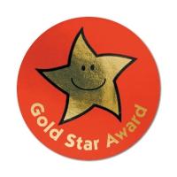 Gold Star Award Metallic Star Stickers (38mm)