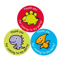 Thank You For Coming To My Party Stickers - Dinos - 38mm