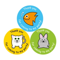 Thank You For Coming To My Party Stickers - Animals - 38mm