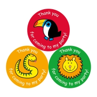 Thank You For Coming To My Party Stickers - Jungle - 38mm