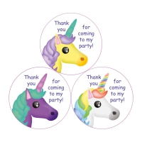 Thank You For Coming To My Party Stickers - Unicorns - 38mm