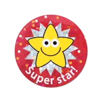 28mm Sparkly Super Star Stickers - Pack Of 54