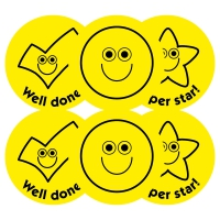 Budget Stickers - Yellow Smileys and Ticks Value Pack (38mm)