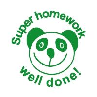 Stamper: Super Homework Well Done! - Panda - Green