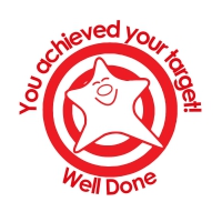 Stamper: You Achieved Your Target!  Well Done - Smiley Star