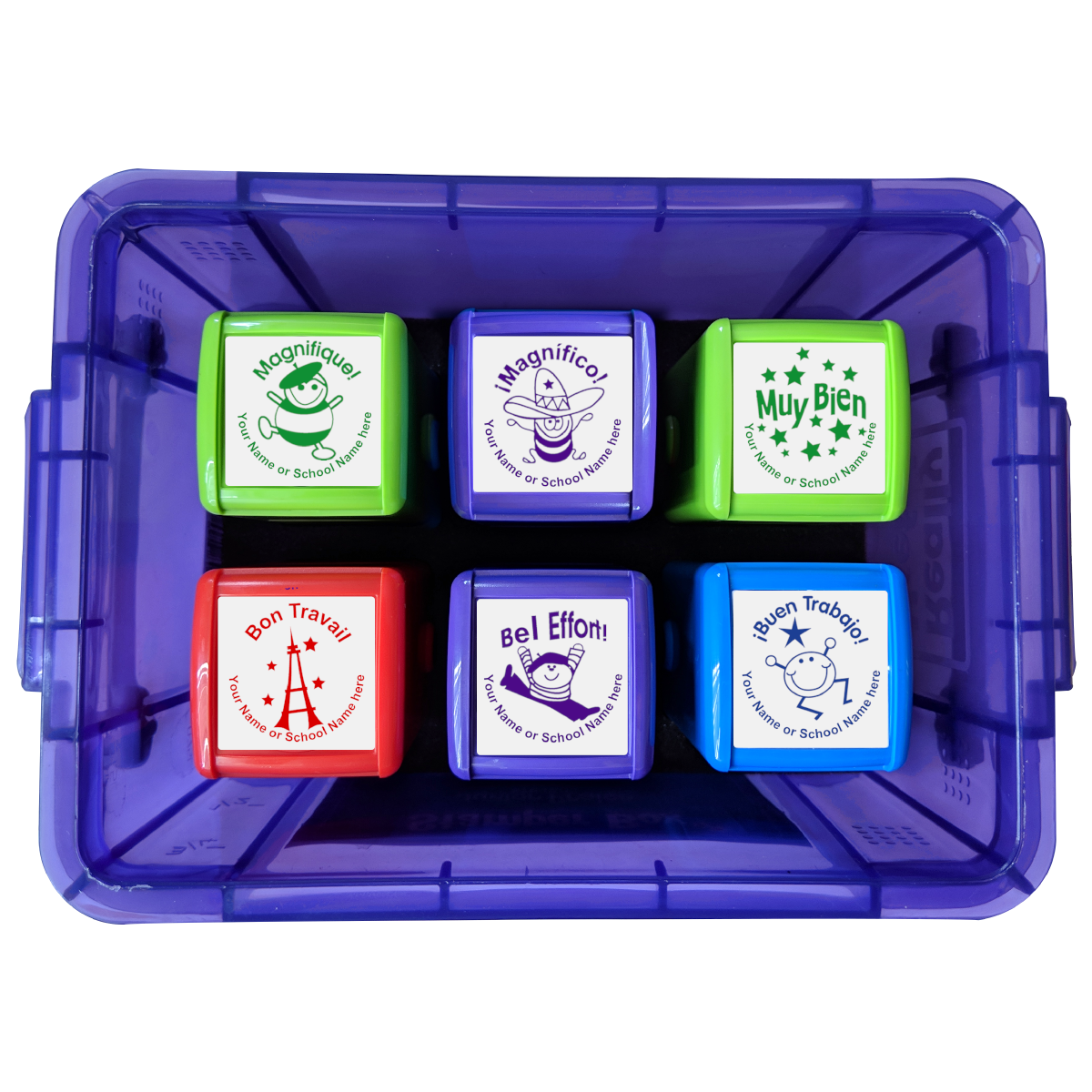 Quick Personalised Stamper Box: French / Spanish