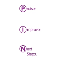 Stamper: Praise / Improve / Next Steps
