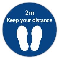 Social Distance Floor Marker - Blue Circle (400x400mm)