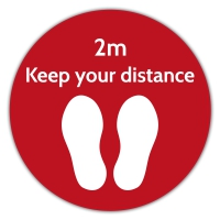 Social Distance Floor Marker - Red Circle (400x400mm)