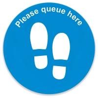 Social Distance Floor Marker - Blue Circle Queue Here (400x400mm)