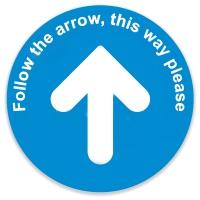 Social Distance Floor Marker - Blue Circle with arrow (400x400mm)