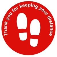 Social Distance Floor Marker - Red Circle, Thank You For Keeping Your Distance (400x400mm)