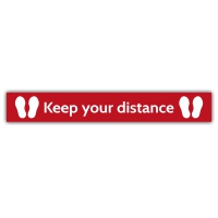 Social Distance Floor Marker - Red, Keep Your Distance (1000x150mm)