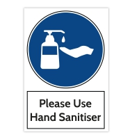 Aluminium Warning Sign - Please Use Hand Sanitiser (200x300 MM)