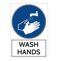 Aluminium Warning Sign - Wash Hands (200x300 MM)