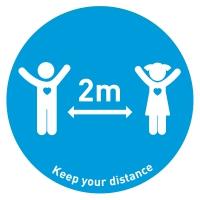 Social Distance Floor Marker Kids - Blue (400x400mm)