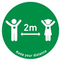 Social Distance Floor Marker Kids - Green (400x400mm)