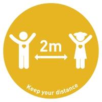 Social Distance Floor Marker Kids - Yellow (400x400mm)