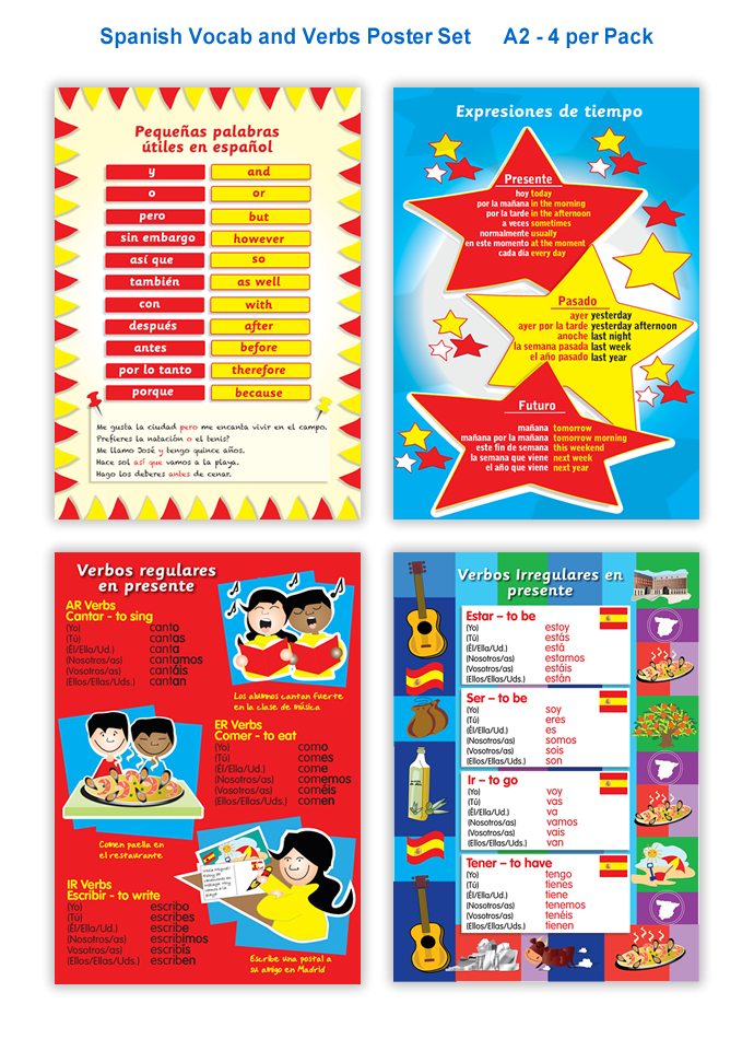 Poster: Spanish Vocab and Verbs Set