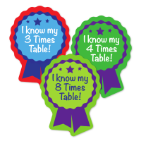 Sticker: Year 3 Times Tables Rosette Quick Pack X3 X4 X8