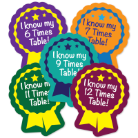Sticker: Year 4 Times Tables Rosette Quick Pack X6 X7 X9 X11 X12
