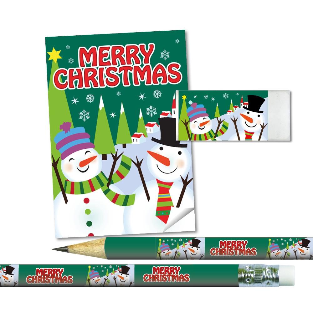 Stationery Set: Merry Christmas - Snowman (Green)